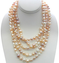 80 Inch Multi Color Freshwater Pearl Necklace