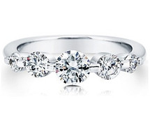 Ladies Sterling Silver 5 Stone White Topaz Ring