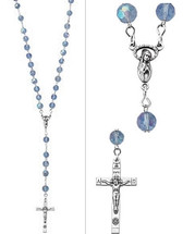 Pewter Blue Glass Crystal Bead Rosary