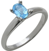 Ladies White Gold Oval Blue Topaz Solitaire Ring