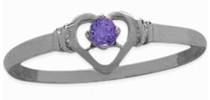 Ladies Sterling Silver Amethyst Round Ring