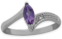 Ladies Sterling Silver Amethyst Ring