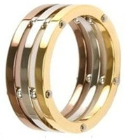 Stainless Steel Tri-color 7mm Ring
