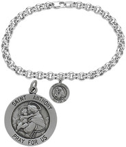 Sterling Silver St. Anthony Religious Charm Bracelet