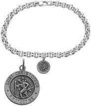 Sterling Silver St. Christopher Religious Charm Bracelet
