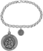 Sterling Silver St. Anne Religious Charm Bracelet