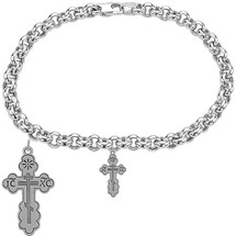 Sterling Silver Orthodox Cross Religious Charm Bracelet