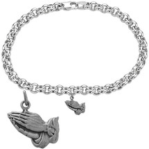 Sterling Silver Hands Praying Religious Charm Bracelet