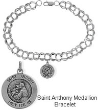 Sterling Silver St. Anthony Charm Religious Bracelet