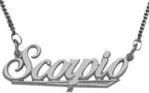 """10K White Gold Scorpio Script Zodiac Pendant Oct 24 - Nov 22 with 16"""" chain"""