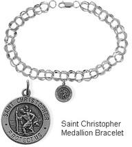 Sterling Silver St. Christopher Charm Religious Bracelet
