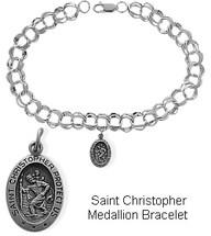 Sterling Oval St. Christopher Charm Religious Bracelet