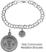 Sterling Silver Holy Communion Charm Religious Bracelet