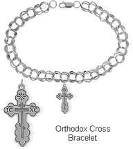 Sterling Silver Orthodox Cross Charm Religious Bracelet