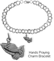 Sterling Silver Hands Praying Charm Religious Bracelet