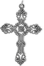 Large Detailed Sterling Silver Religious Cross
