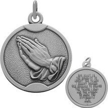 Sterling Silver Matte Finish Religious Praying Hands Medallion