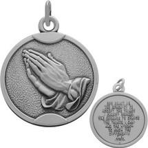 Sterling Silver Matte Finish Religious Praying Hands Medallion