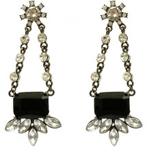 2.75 Inch Shourouk Black Glass Bead Earrings