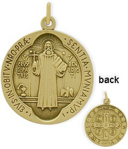 14 Karat Yellow Gold Religious Medal Medallion