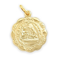 14 Karat Gold Inscribed Religious Baptismal Medal Medallion