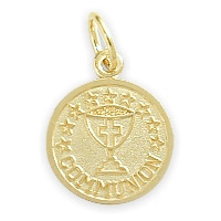 14 Karat Gold High Polish & Matte Religious Small Communion Medal Medallion