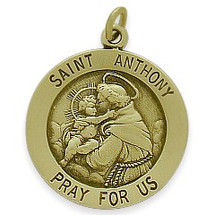 14 Karat Yellow Gold Saint Anthony Religious Medal Medallion