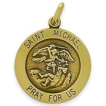 14 Karat Yellow Gold Saint Michael Religious Medallion