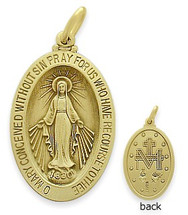 14 Karat Yellow Gold Large Miraculous Mary Religious Medal Medallion