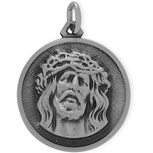 Sterling Silver Large Religious Jesus Medal Medallion
