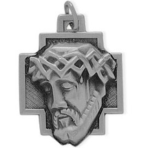 Large Sterling Silver Religious Jesus Medal Medallion