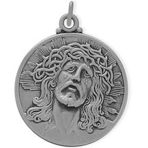 Large Round Sterling Silver Religious Jesus Medal Medallion