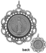 Large Sterling Silver Religious Mary Medal Medallion
