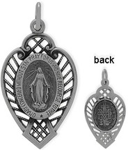 Sterling Silver Detailed Relgious Mary Medal Medallion