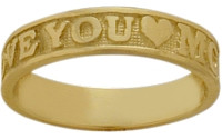 Yellow Gold I LOVE YOU MOM Expression Ring