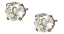 6mm SWAROVSKI Elements White Crystal Stud Earrings