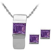 Ladies Sterling Silver Amethyst Pendant & Earrings Set