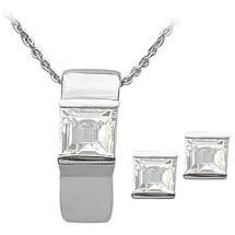 Ladies Sterling Silver White Topaz Pendant & Earrings Set