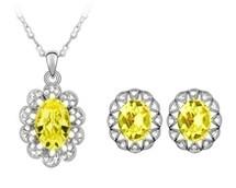 SWAROVSKI® Elements Oval Pendant & Earrings Set