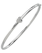 14 Karat White Gold Diamond Hinged Bangle