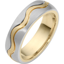 6.5mm Two-Tone 14 Karat Gold Wave Style Comfort Fit Wedding Band Ring