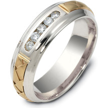 Designer 14 Karat Two-Tone Gold Channel Set Woven Diamond Wedding Band Ring