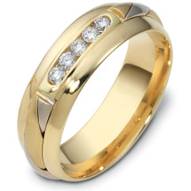 Designer 14 Karat Two-Tone Gold Channel Set Diamond Wedding Band Ring