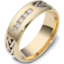 Designer 14 Karat Two-Tone Gold Channel Set Multi Texture Diamond Wedding Band Ring