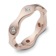 Designer 14 Karat Rose Gold Unique Princess Cut Diamond Ring