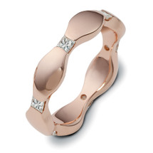 14 Karat Designer Rose Gold Princess Cut Unique Diamond Ring