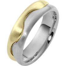 Wave Style 6.5mm Two-Tone 14 Karat Gold Comfort Fit Wedding Band Ring