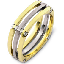 Unique 14 Karat Two-Tone Gold Designer Link Style Wedding Band Ring