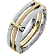 7mm Square Style 14 Karat Two-Tone Gold Comfort Fit Wedding Band Ring