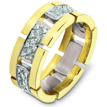 Designer 14 Karat Two-Tone Gold Unique 66 Diamond Wedding Band Ring
